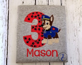 Chase Birthday Shirt - Paw Patrol Birthday Shirt, Puppy Birthday, Paw Patrol Chase Birthday, Birthday Shirt, Birthday Outfit, Boy Birthday