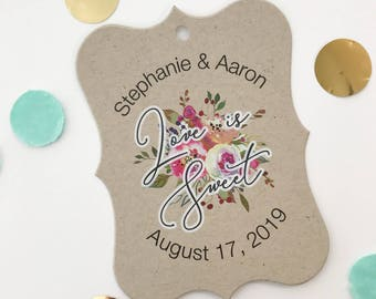 Penelope - Love is Sweet Kraft Wedding/Engagement/Celebration/Event Hang Tags (EC-379-006-KR-WT-B)