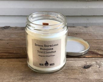 Draco Dormiens Nunquam Titillandus (Never Tickle a Sleeping Dragon) - Hogwarts Inspired Soy Candle - Baked Apple and Cinnamon Oatmeal Scent