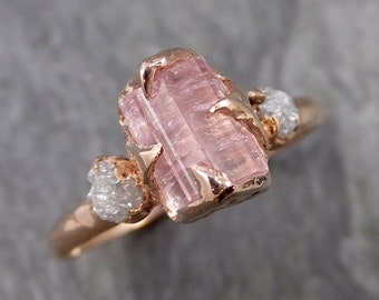 Raw Pink Tourmaline Diamond 14k Rose Gold Multi stone Engagement Ring Wedding Ring One Of a Kind Gemstone Ring Bespoke Three stone Ring 1097
