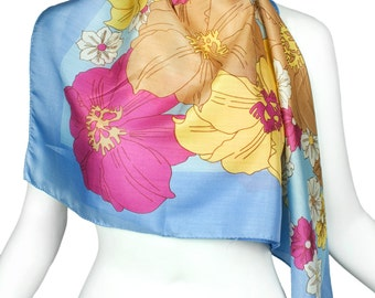 Vintage 1960s Cornflower Blue French Silk Scarf - Wall Hanging - Deadstock Graphic Floral Scarf