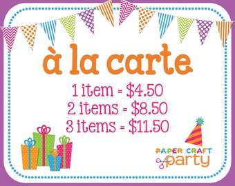 A la carte Party Item | Choose Party Theme & Item