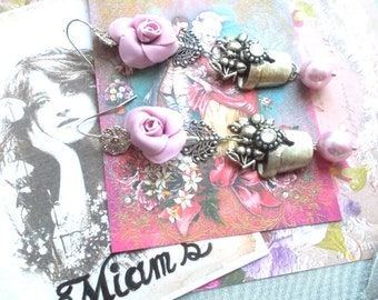 Earrings romantic soft pink and silver metal