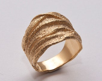 Golden Rag No.3 - 14k Gold Ring , Wedding Ring , Wedding Band , Mens Ring, rough ring, textured ring, unique ring