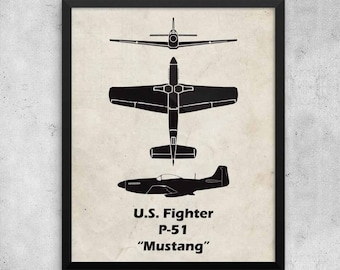P-51 Mustang Print, Fathers Day Gift, Vintage Airplane, WWII Airplanes, Aviation Print, Airplane Poster, Boys Room Decor