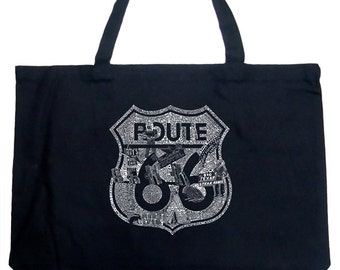 Large Tote Bag - Popular Roadside Attractions & Stops Along Route 66