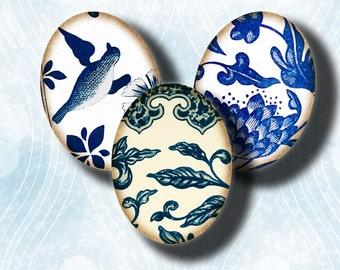 Porcelaine bleue asiatique (6) Collage Digital Sheet - 30x40mm ovales ou 18x25mm ou autres tailles disponibles - Buy 3 Get 1 Extra gratuit