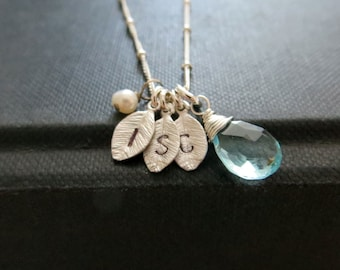 3 leaf Initial necklace, personalized jewelry, hand stamped leaf charm necklace, personalized gift for mother, gift for her