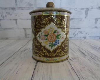 Vintage Daher Storage Tin, Lidded Metal Floral Biscuit Tin, Embossed Floral Tin, Gold Knob, Very Pretty, Made In England, Christmas Gift