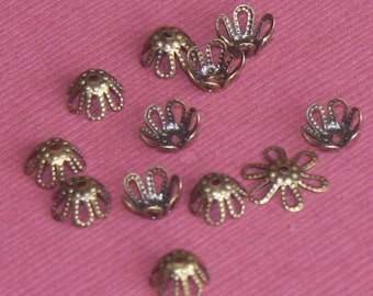 100 pcs of antique brass flower beadcap 7mm