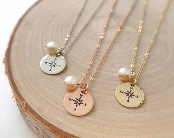 Graduation gift for her, hand stamped compass rose charm necklace freshwater pearl true north journey direction explore travel wanderlust