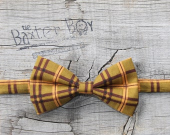 READY TO SHIP --- Olive Green & Plum plaid bow tie, little boy bow tie - photo prop, wedding, ring bearer, accessory