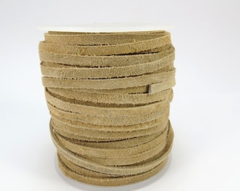 Suede Leather Lace Cord, Beige 3-4mm Lace Cord, Four (4) Yards Suede Lace Cord, Leather Cord, Item 617ct