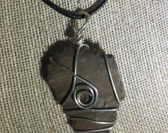 Silver Wire Wrapped River Rock Pendant