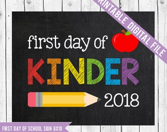 First day of Kinder Sign, First day of Kinder, Back to school printable, Kinder printable, Kinder chalkboard sign, Australian Kindergarten