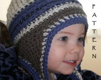 Crochet Beanie Pattern, Ear Flap Crochet Pattern, Kids Mountain Jam Ear flap Hat, All sizes Baby through Adult included