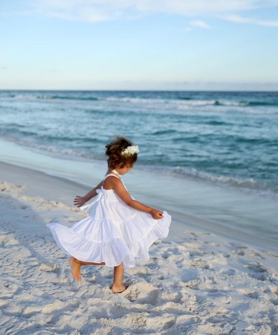 Girls White Beach Dress - White Flower Girl Dress - Beach Wedding Flower Girl Dress - Beach Wedding