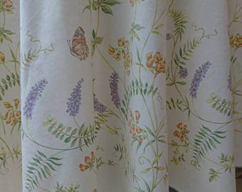 Vintage 1980's Circular Tablecloth - Butterfly and Floral Interior Design BoutiqueByDanielle