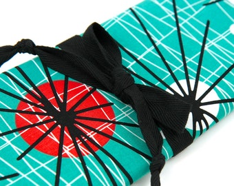 Knitting Needle Case - Atomic - 30 black pockets for straights, circulars and dpns plus accessories Large Knitting Needle Organizer Storage