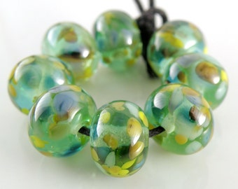 Galloping Green Seahorses SRA Lampwork Handmade Artisan Glass Donut/Round Beads Made to Order Set of 8 8x12mm