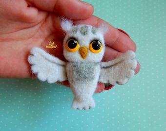 Brooch jewelry Owl, felt brooch owl, owl, jewelry owl, brooch bird, felt Miniature owl, Needle felted owl, pin, Bird felt miniature owl bird