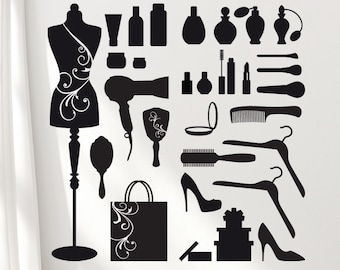 Wall Stickers: Fashion Vanity Set, Mannequin, Makeup, Hair Accessories, Shoes, Perfume Bottles, Hairdryer, Vinyl Wall Decals, DIY Home Decor