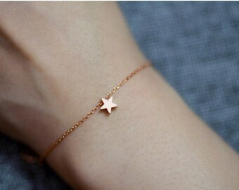 Dainty rose gold star bracelet//Rose gold//Minimalist//Simple//Dainty//Everyday//RG001
