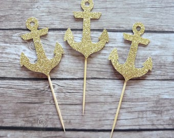Set of 10+ Anchor cupcake toppers - Nautical Party, Under the Sea Birthday Party Decor, Wedding, Bridal Shower, Baby Shower