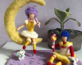 needle felted Magical Creamy Mami, Magical Angel Creamy doll, soft sculpture Magical Angel Creamy, needle felted puppet, Anime home decor