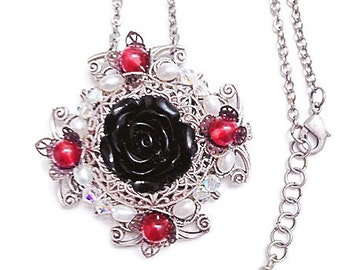 Black Rose Necklace with Garnet Gemstones, Silver Filigree Necklace, Fantasy Jewelry, Romantic Jewelry