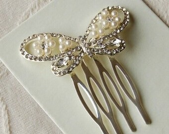 Diamante Butterfly Hair Comb - Highest Quality - Wedding Accessories