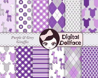 Purple and Gray Baby Shower Digital Paper Pack, Nursery Pattern, giraffe