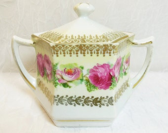 Hexagon Shaped Lidded Sugar Bowl with Pink Roses & Gold Trim