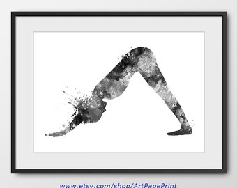Yoga Print, Yoga Pose Poster, Yoga Poster, Yoga Decor, Yoga Wall Art, Yoga Decor, Yoga Gift, Yoga Studio Watercolor Black and White (A0451)