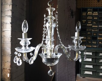 Small Crystal Chandelier, Three Arm Chandelier, Hand Made Chandelier. Vintage Parts Chand