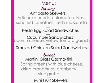 Mad Hatter Tea Party Menu