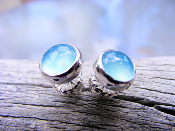 Blue Chalcedony Gemstone Studs - Blue Gemstone Post Stud Earrings - Large Blue Gemstone Studs
