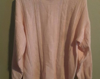 Women's Pink Long Sleeve Mock Turtle Neck Jennifer Moore Long Sweater Size Large 100% Acrylic  Plus Size