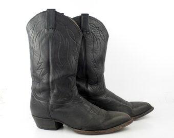 Cowboy Boots Vintage 1980s Tony Lama Leather Black Boots Men's size 9 1/2 EE