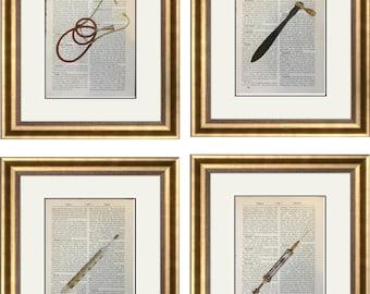 4 Vintage Doctor Prints Gold Medical Equipment Stethoscope Syringe Gift Health Dictionary Vintage Upcycled Book Art