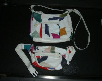 80s Patchwork Faux Leather Fanny Pack  w Coin Pouch, Matching Shoulder Purse Vintage 1980s