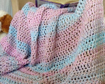 REDUCED POST Mothers DAY,Girls Room Decor,Crochet Afghans For Sale, Light Lacy Throw Blanket, Pastel Throw Blanket, Girls Blanket,Blue
