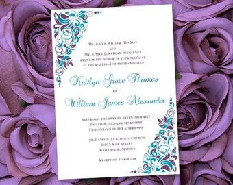 "Printable Wedding Invitations ""Gianna"" Purple & Teal Template Make Your Own Wedding Invitations You Print"