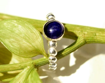 Blue Sapphire Ring with Silver, September Birthstone, Bridesmaids Gifts, Sterling Stacking Ring with Sapphire Gem