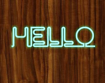 Wood Texture Backgroud Neon Word Digital Paper Hello Neon Light
