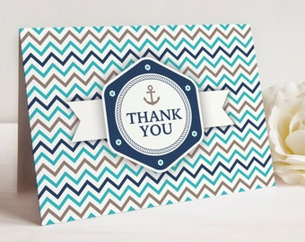 ON SALE Nautical Theme Thank You Notes, Set of 10 Cards with Envelopes