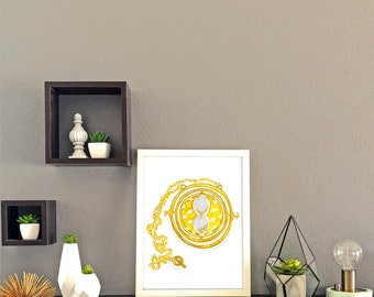 Hermione's Time Turner Watercolor Print