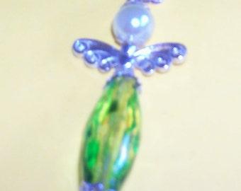angel / fairy green bead pendant boxed '93'