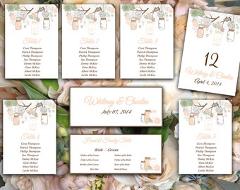 Wedding Seating Chart Template   Rustic Mason Jar Sage Green Creamy Peach Blush Brown Word Template   Table Number Card Wedding Download