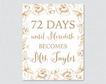 Gold Days Until Mrs Floral Bridal Shower Sign Printable - Gold Flowers Bridal Shower Days Until Wedding Sign - Garden Bridal Sign 0027